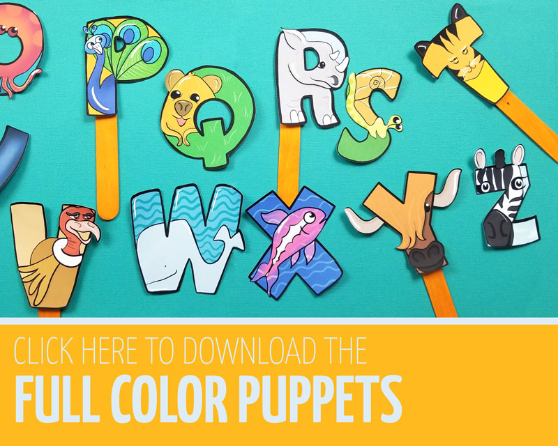 Click this link for the full color alphabet puppets craft