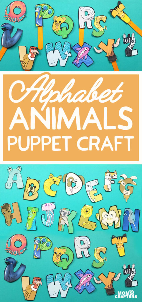 Print and craft this adorable printable paepr toy for kids! These alphabet puppets are a cute DIY educational toy and include Cricut print then cut PNG images (not SVG files)