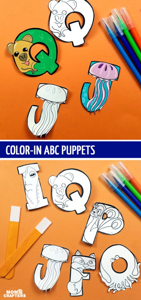 Print color and craft these adorable ABC animals and alphabet puppets