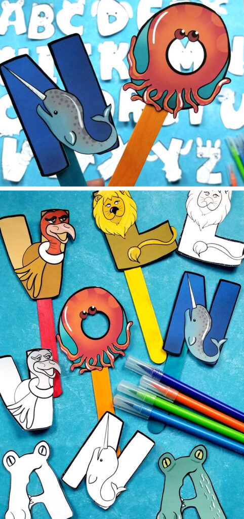Click for these adorable printable color-in alphabet puppets craft for preschoolers! This ABC letters craft features alphabet animals and is a fun paper craft for kids