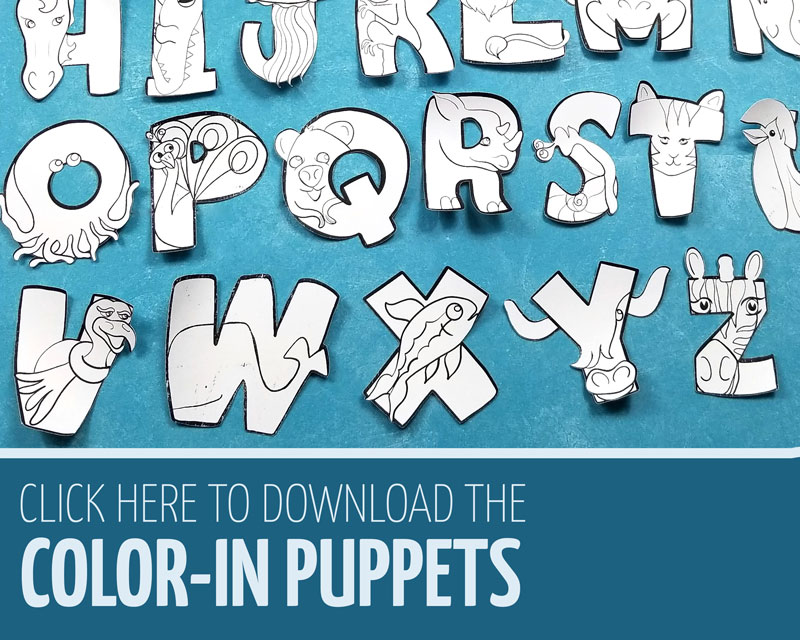 Click this link for the color-in alphabet puppets animal craft for kids, preschool, and toddler