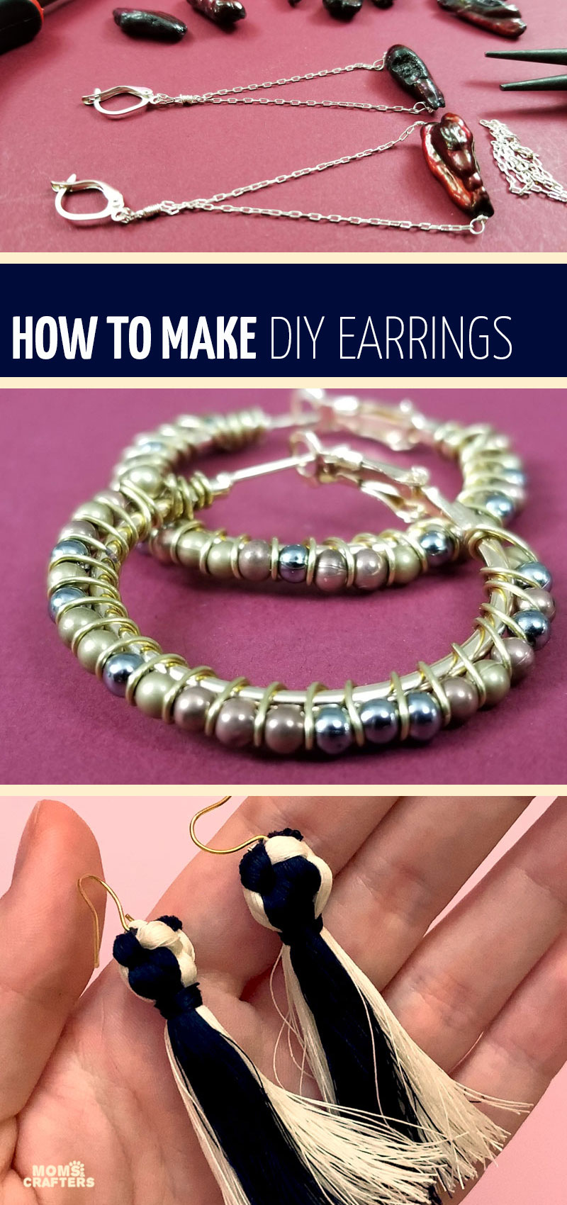 Make your own easy DIY earrings with these simple tutorials for teens and adults! These jewelry making basics include wire wrapped hoops, DIY stud earrings, tassel earrings, beaded ones too! You'll find so many ideas with beads, dangle, and even some for teens!