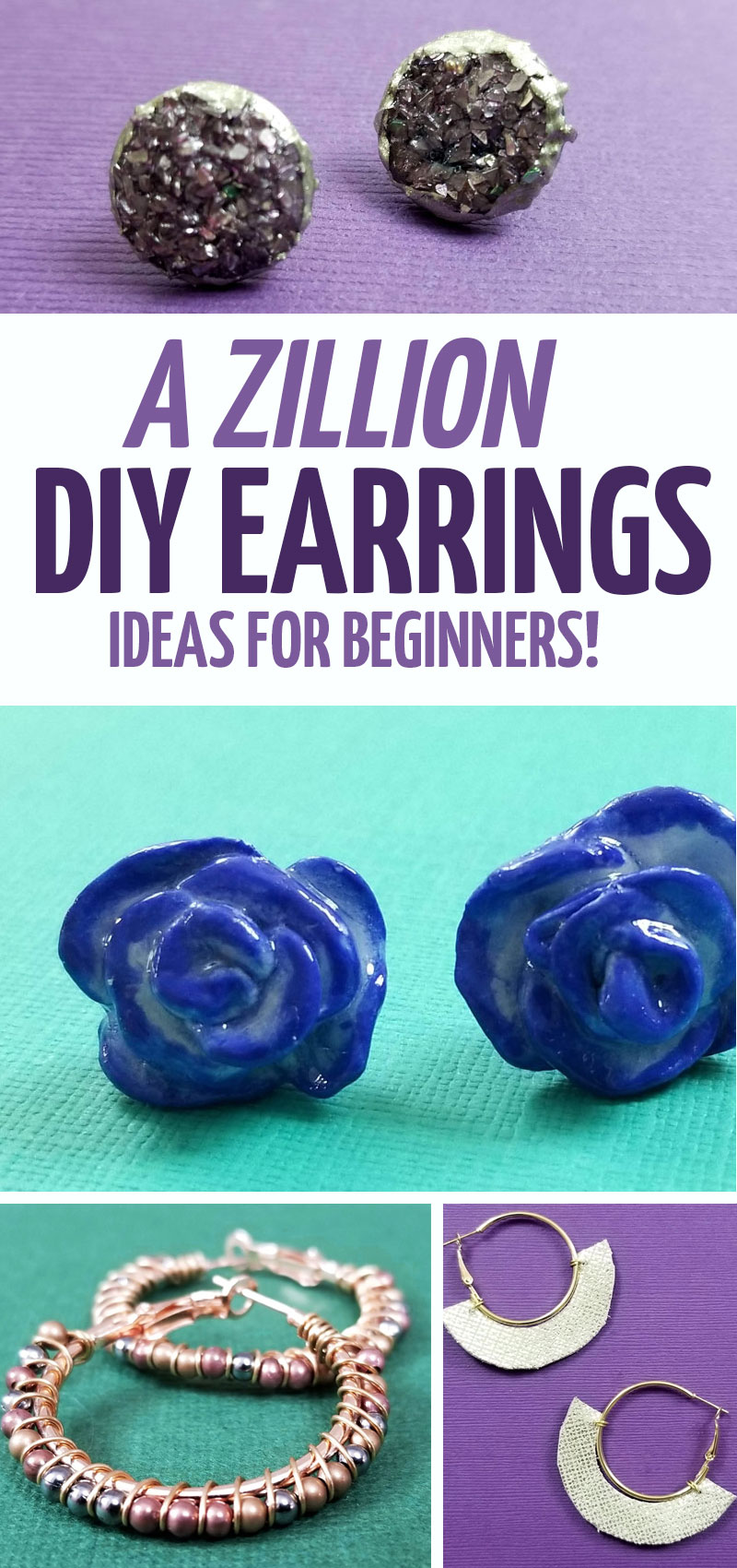 The only list of DIY earrings you'll need! Find simple leather earrings, elaborate wire wrapped ones, boho earrings tutorials, and many more unique handmade tutorials!