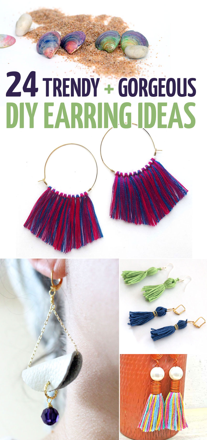 Click to learn how to make DIY earrings 24+ different ways! These easy ideas include so many types of jewelry making crafts for beginners - plus the basics of how to make earrings.