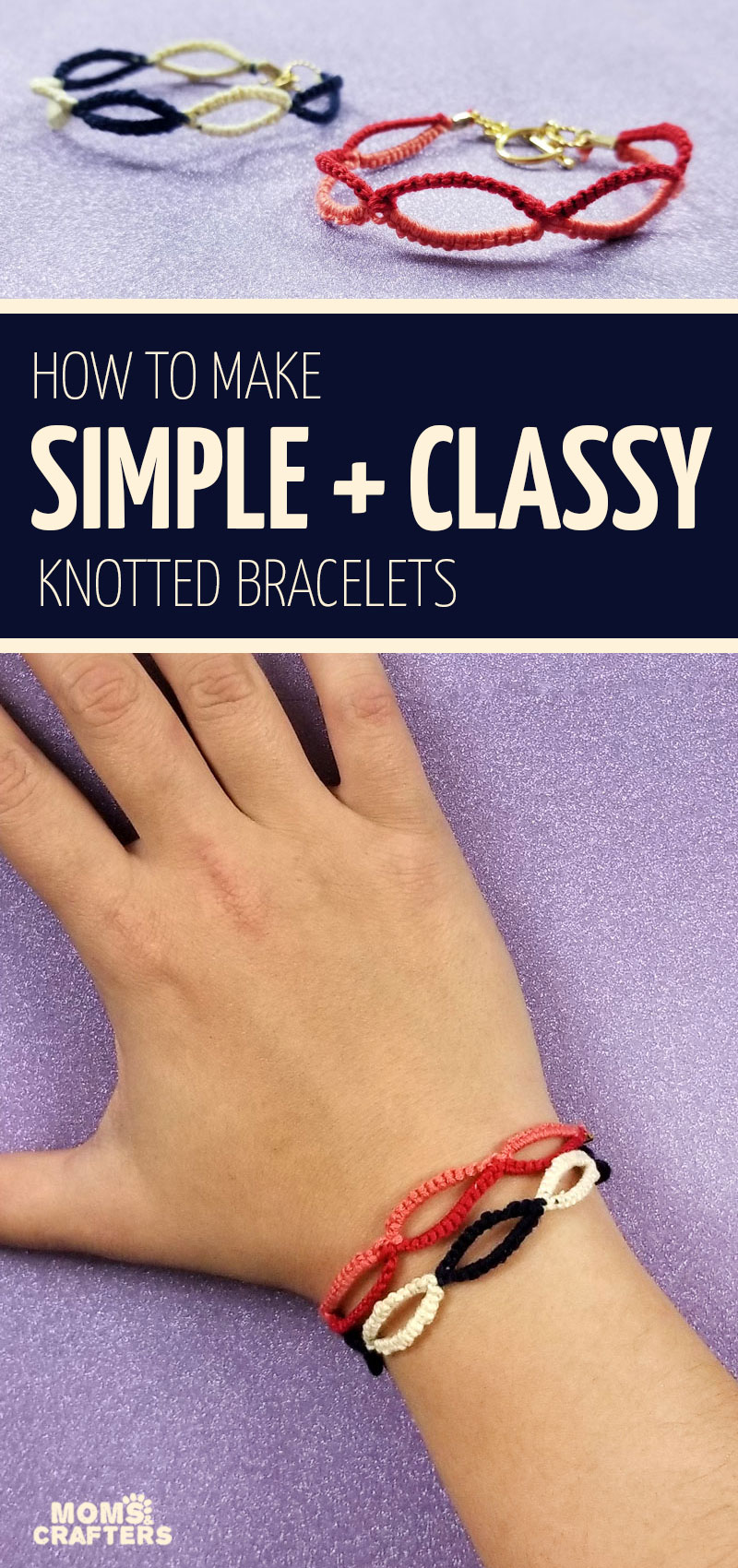 Click to learn how to make this deceptively cool but insanely easy friendship bracelet pattern! This easy friendship bracelet for beginners nad for adults is so much fun and a perfect summer project for teens and tweens!