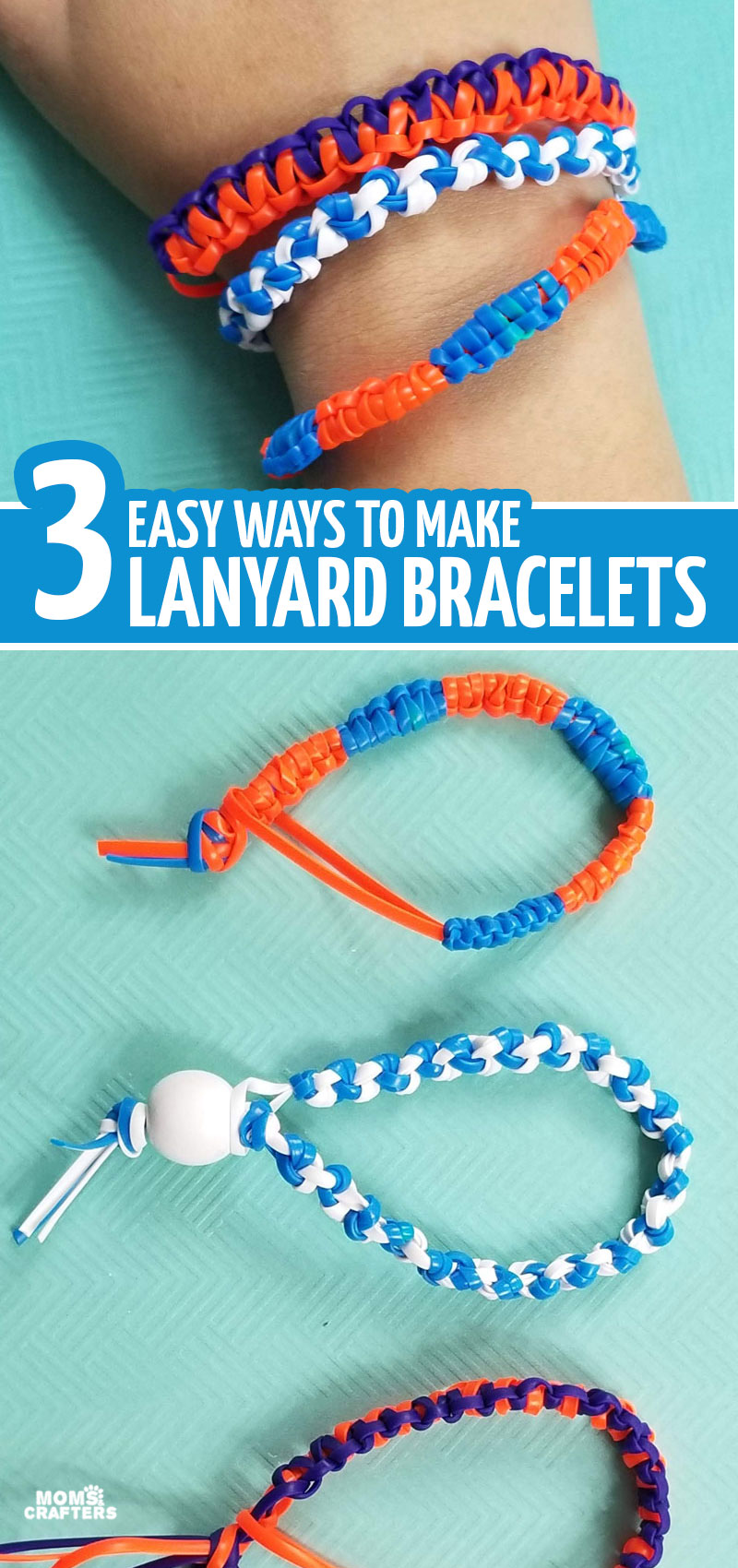 Want to learn how to make a gimp bracelet? These three lanyard knots are flexible and perfect for making bracelets! This fun boondoggle idea is perfect for summer camps and a great craft idea for tween boys and girls - and even kids!