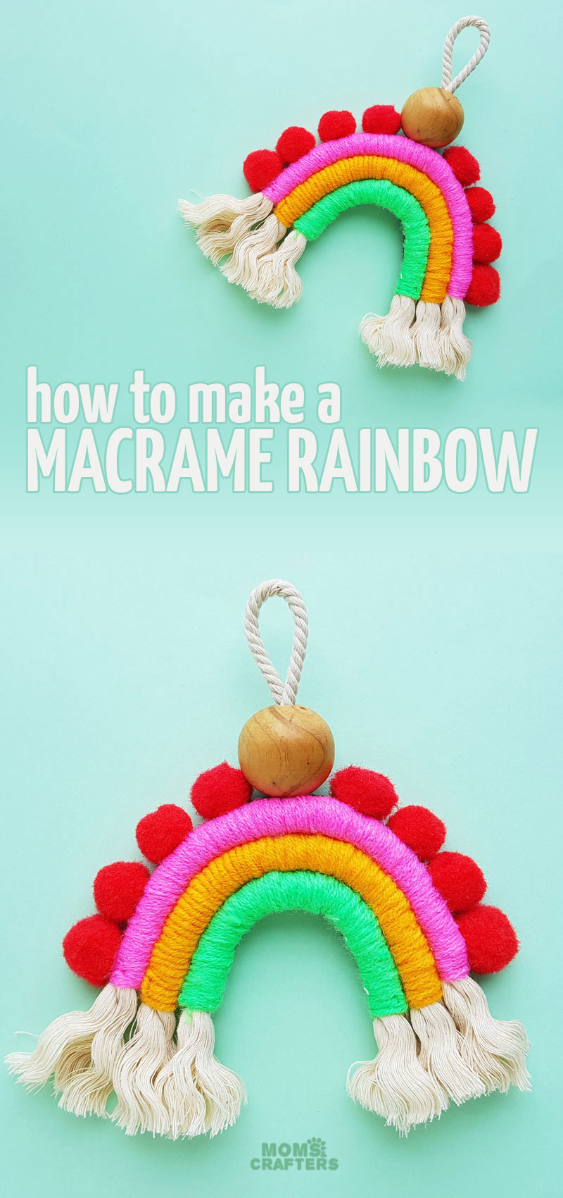 LEarn how to make a macrame rainbow wall hanging or charm for your home! This adorable DIY home decor craft for teens and tweens is also a great nursery or playroom decor idea!
