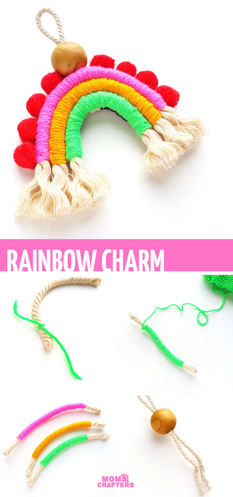 Craft a DIY macrame rainbow tutorial and turn it into a charm, a backpack dangle, a wall hanging, or whatever you want! Macrame rainbows are perfect macame projects for beginners and for teens.