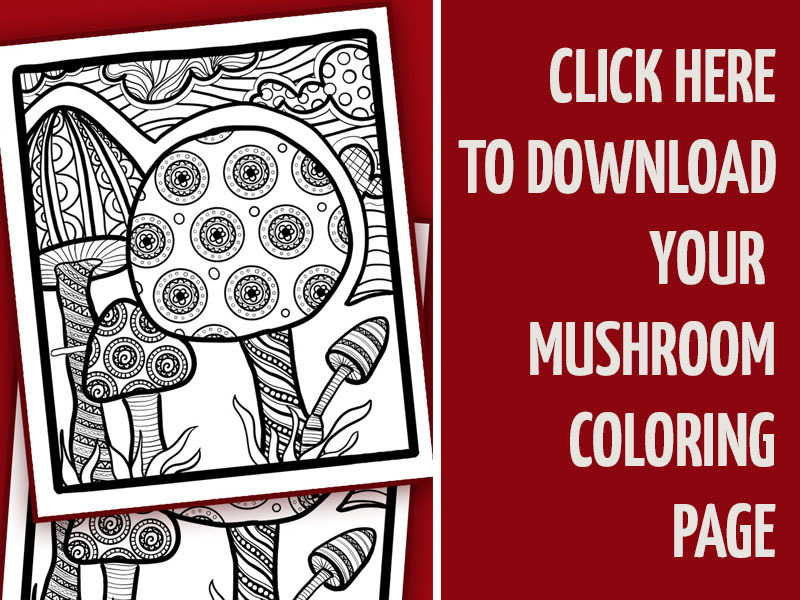 Click to download the mushroom coloring page!