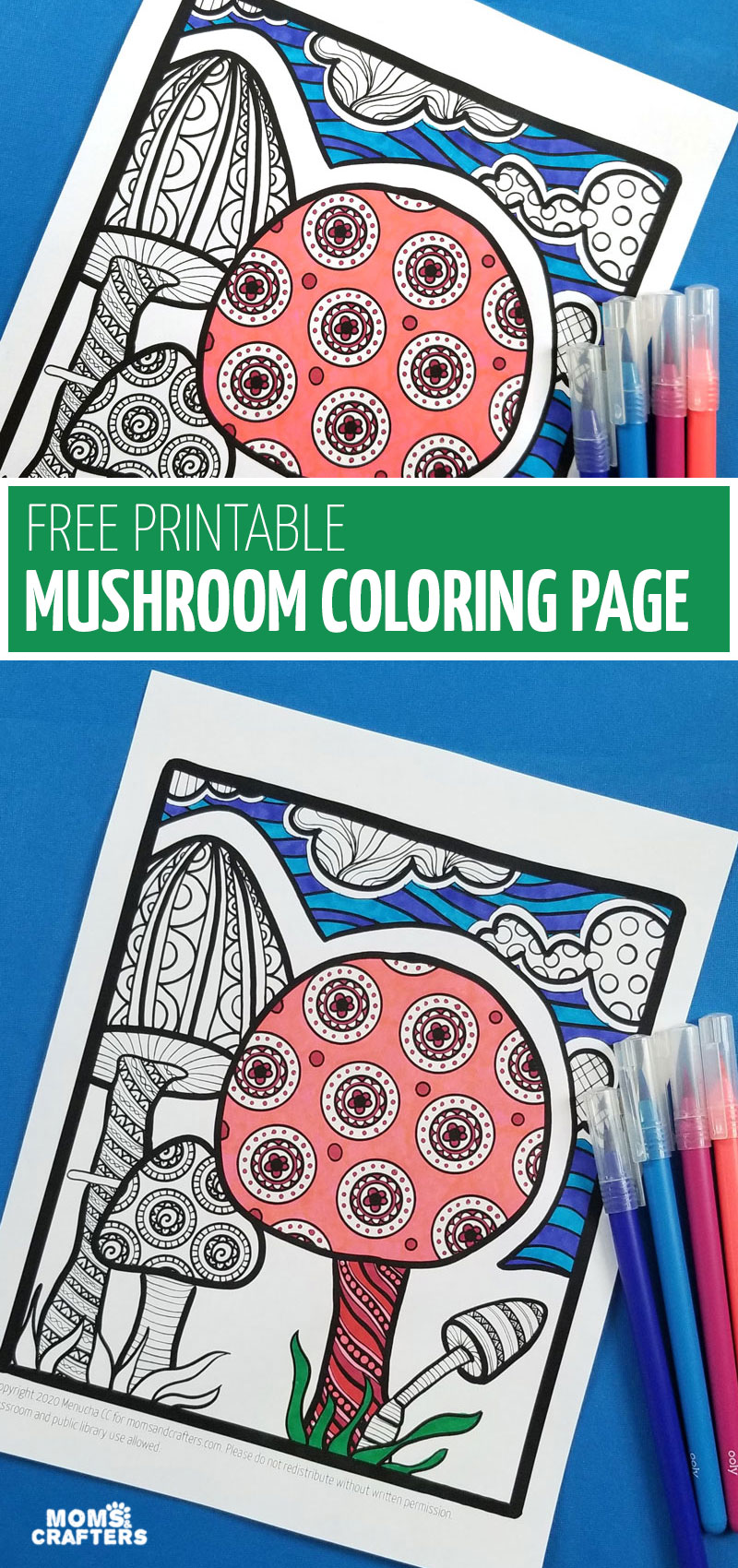 Pin image for free printable mushroom coloring page.