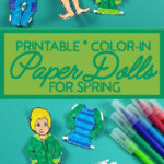 These boy paper doll template are a great Spring Cricut craft for kids! This printable paper toy template is educational and fun for kids to color and craft.