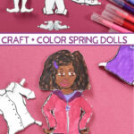 Color and craft paper doll templates for Spring! This girl paper doll includes multicultural options and is a fun Cricut Print then Cut project for kids. This paper craft printable toy is a fun craft for kids and tweens.