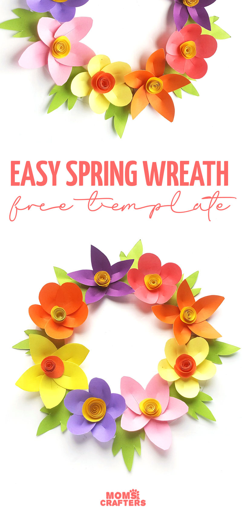 paper wreath craft for kids preview image.