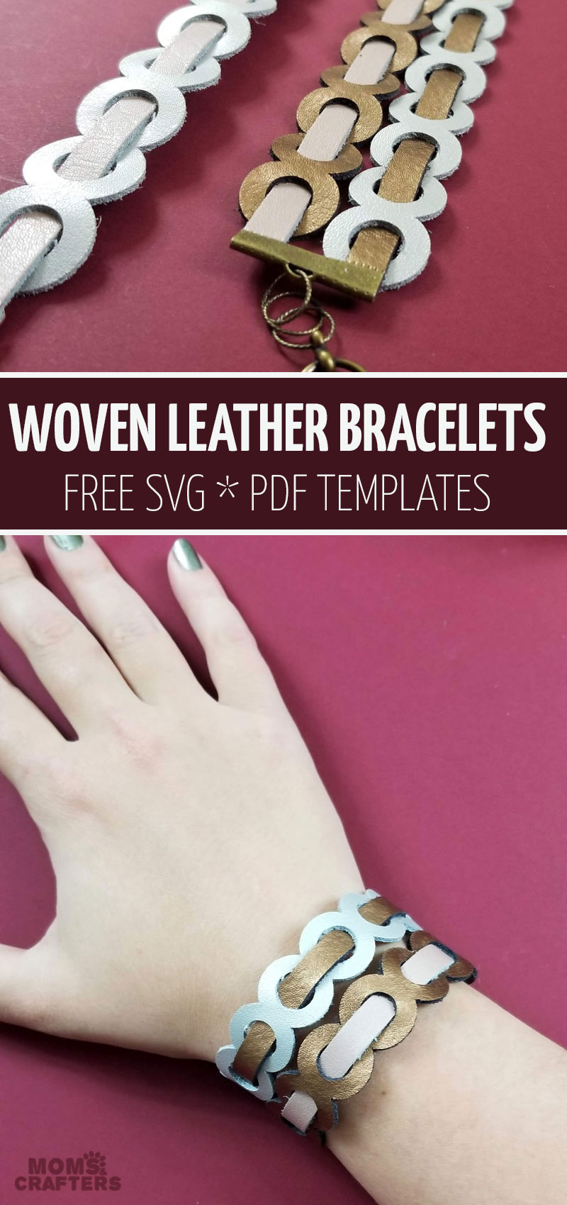 Click ot learn how to make woven leather bracelets using your Cricut Explore Air 2 or Maker. This fun leather jewerly making craft and projects includes a free SVG. It's one of my favorite cricut jewelry ideas!