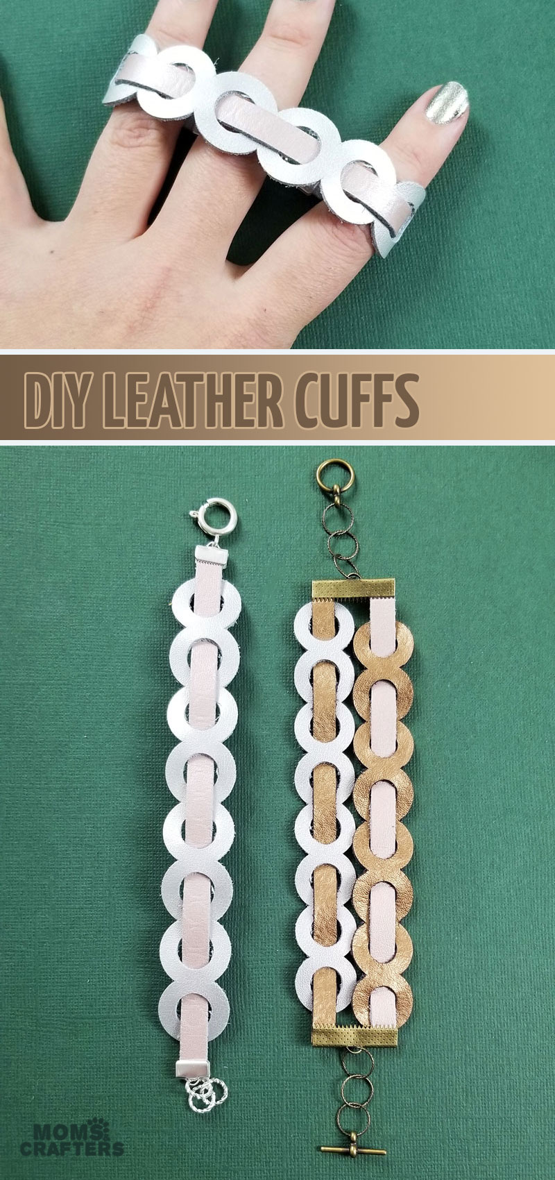 Make DIY leather cuffs with a free template! Use the free SVG or PDF AND learn how to make woven leather cuffs using Cricut - a fun cricut maker project for beginners and a sweet leather jewelry craft.
