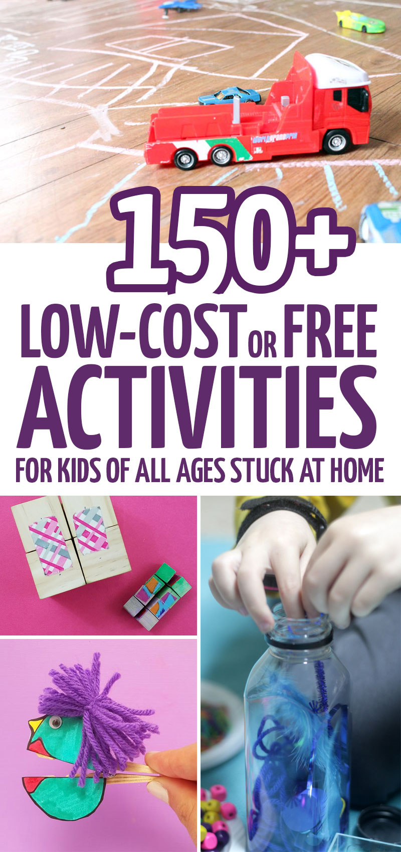 Click for a huge list of free printable activities for kids - with over 150 fun things to do at home with kids of all ages - including ideas for babies, toddlers, preschoolers, grade school, tweens, teens - and even grown-ups!