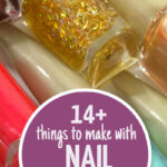 Click for the ultimate list of nail polish crafts for teens and tweens - and adults too! These jewelry making ideas, easy home decor, and more use things you have at home and repurpose old nail polish.