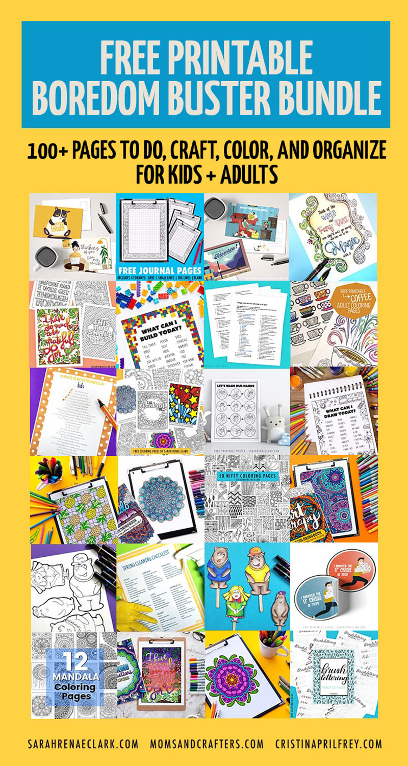 CLick to download these free printable boredom busters - one easy download with over 100 pages of free printable coloring pages for adults, kids activities and crafts, and more!