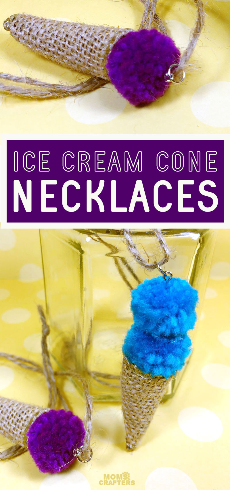 Craft an ice cream necklace using some burlap and a pom pom! This fun summer craft for kids and tweens is adorable and an easy jewelry making idea for kids.