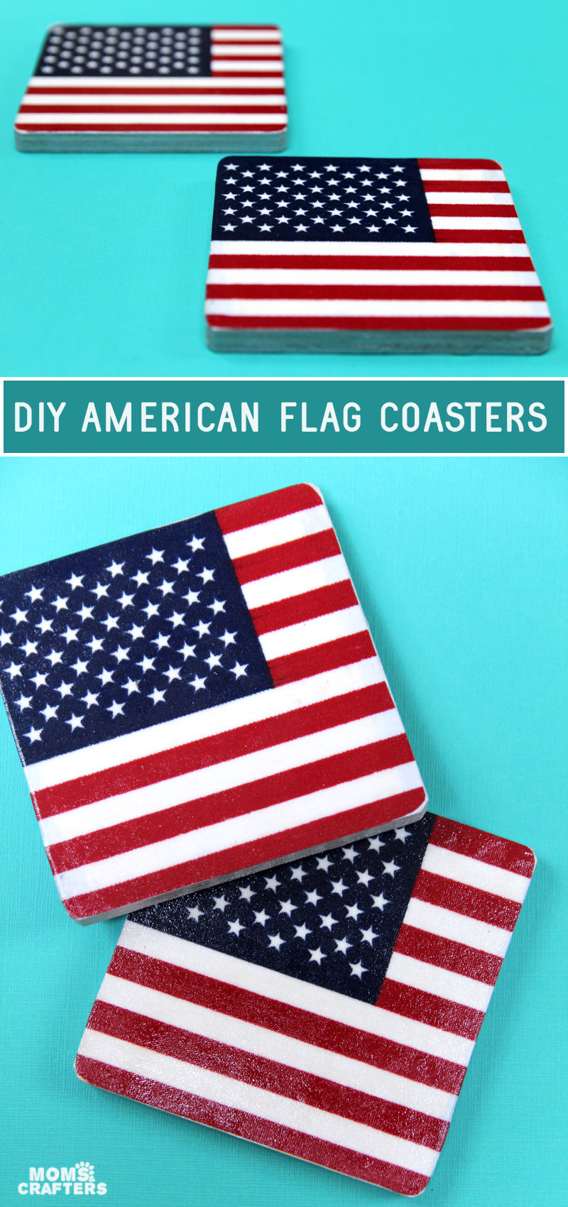 DIY American flag coasters made from parade flags.