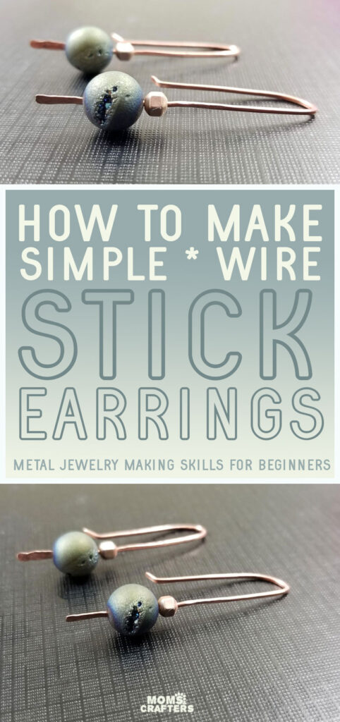 Learn how to make simple diy metal earrings - easy stick earrings for beginners