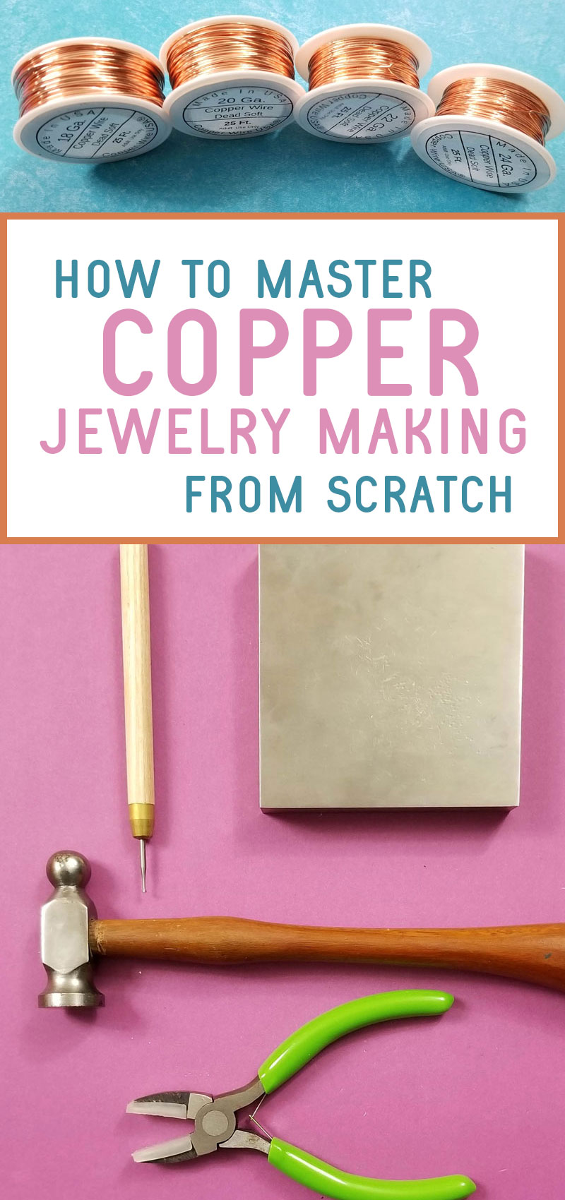 copper jewelry making collage