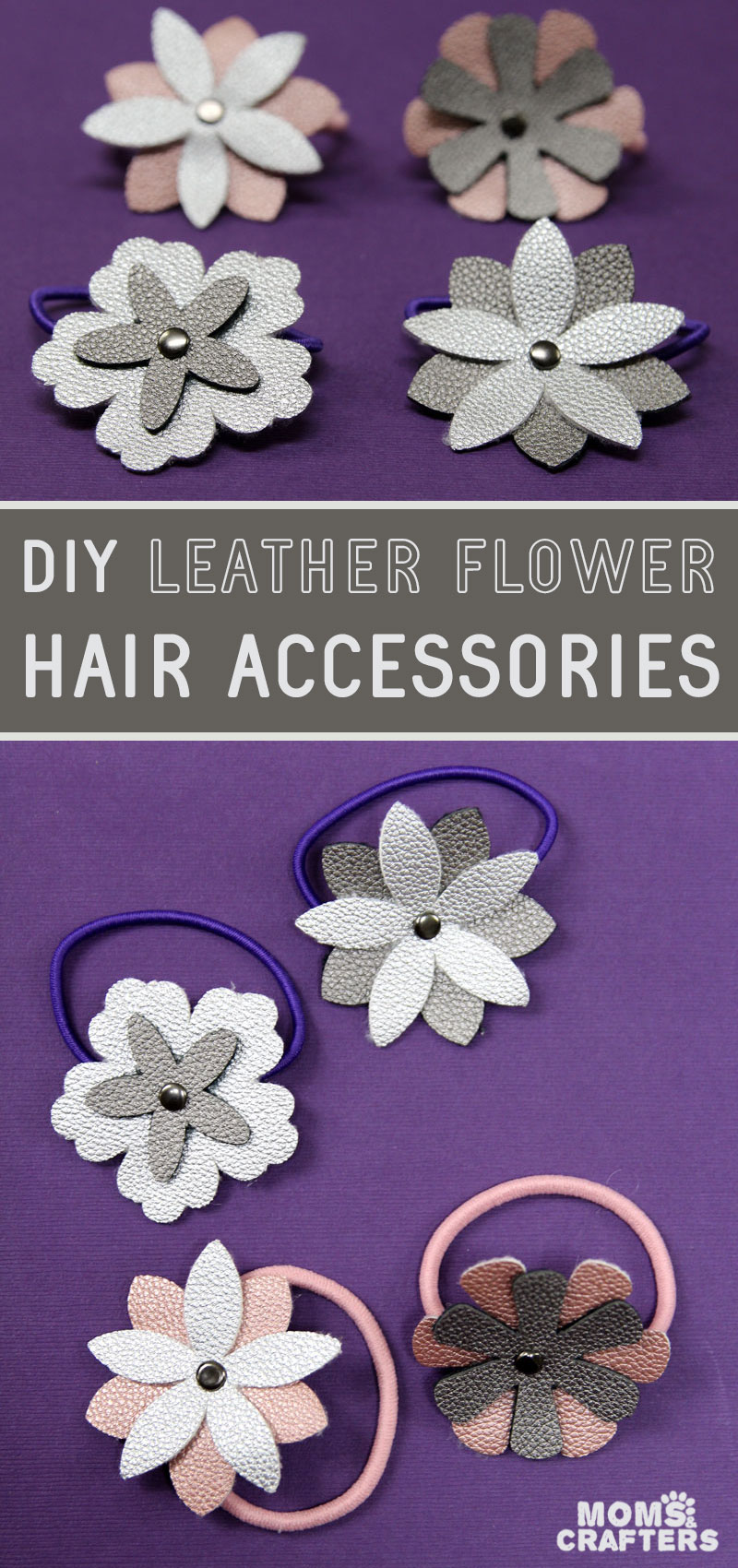 DIY flower hair accessories from leather