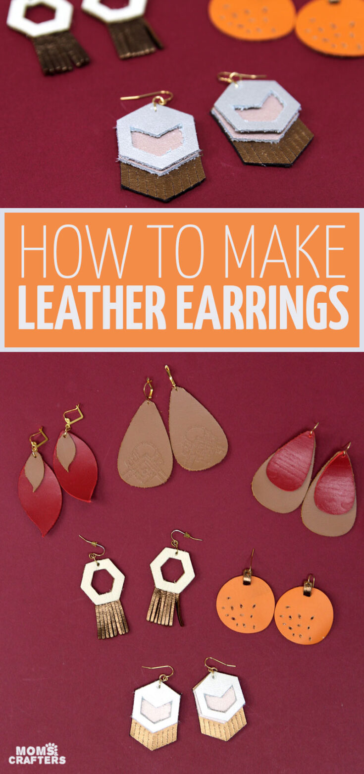 DIY leather earrings flatlay