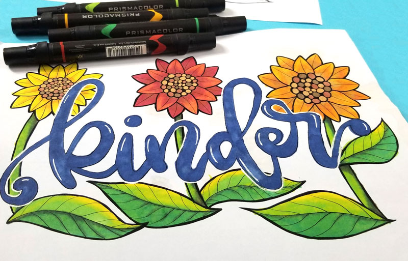 "Final artwork of ""kinder"" motivational coloring pages"