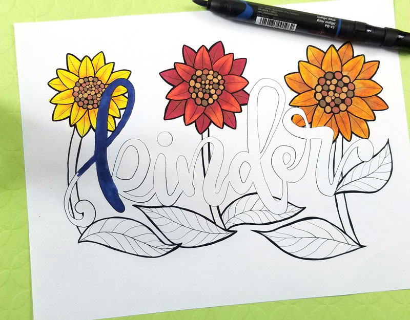coloring text on motivational coloring pages