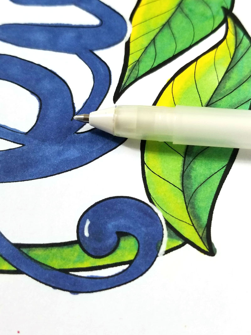 adding pen detail to motivational coloring pages