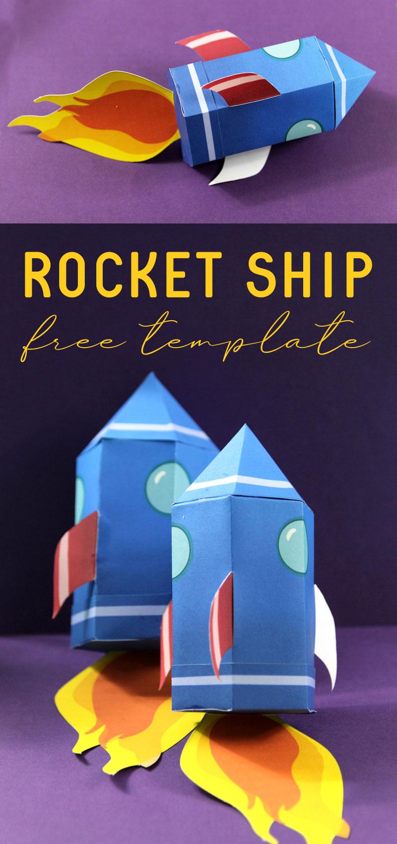 paper rocket template - free printable