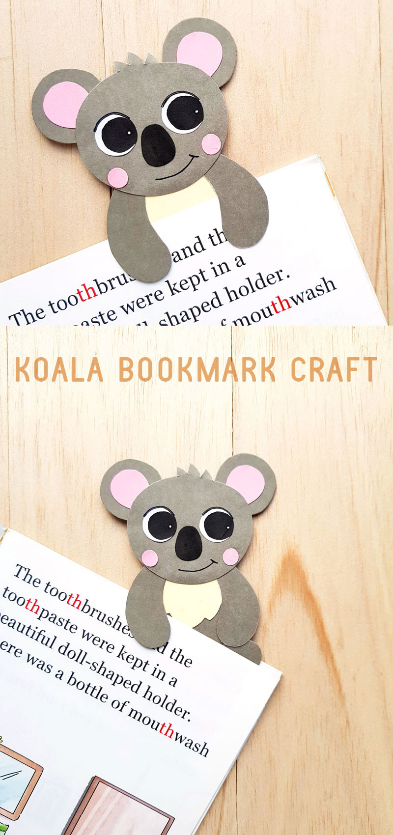 Koala craft - hug bookmarks