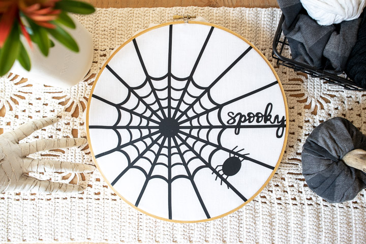 Cricut Halloween Decor – Spider Web Hoop Art – free SVG