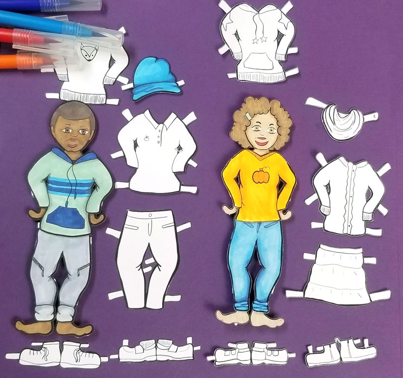 Fall Paper Dolls – Printable Coloring Craft