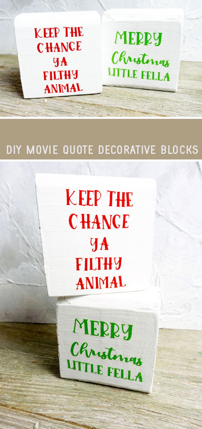 HOme Alone Decor blocks- DIY Cricut Christmas Decor