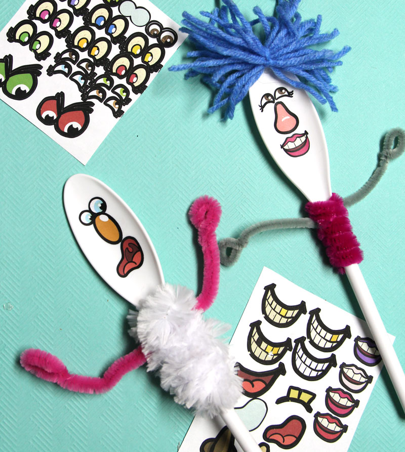 Spoon Puppets Craft with Printable Face Stickers