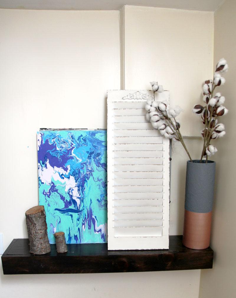 DIY small entry shelf full view