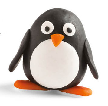 this friendly penguin was made from modeling clay