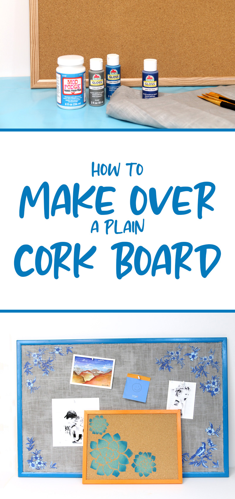 DIY cork board makeover ideas collage image