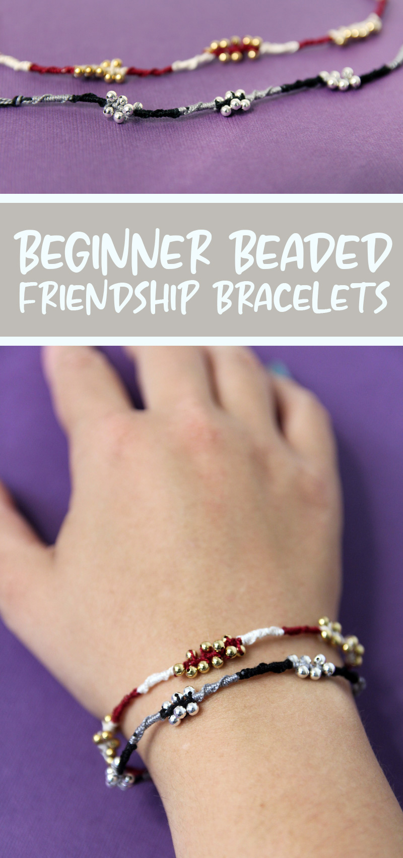 Easy beaded friendship bracelets based on the Chinese Staircase stitch