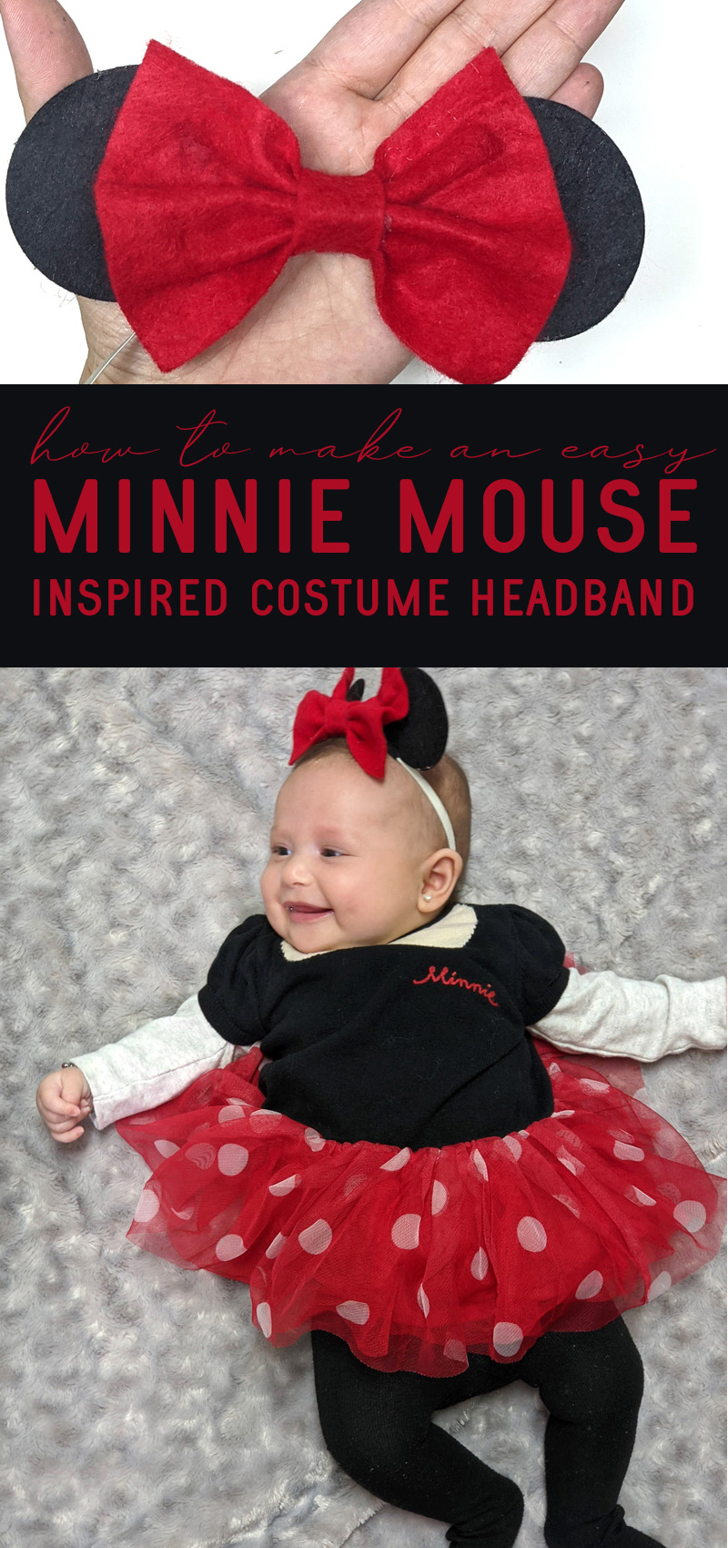 minnie mouse ears for baby modeled and on hand