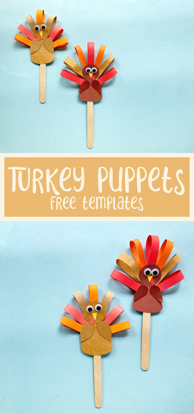 turkey puppets craft template collage